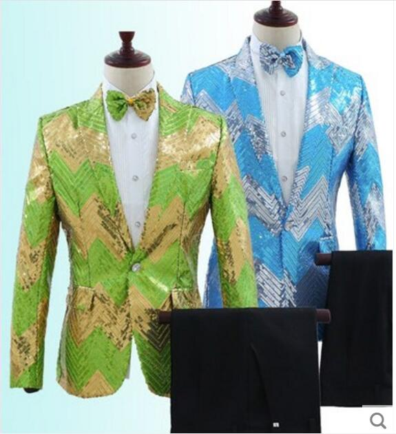 92990ef5bb79a Green Or Blue Sparkly Sequins Blazer Trousers Set Plus Size Men s Slim  Suits Set Nightclub Bar Stage Clothes Men Singer Outfit-in Suits from Men s  Clothing ...