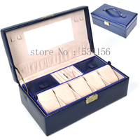 Free shipping Locked watch box, jewelry box. jewelry packaging & display blue color stand 2015 new gift casket box