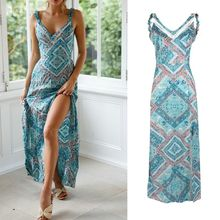 купить Women Ladies Dress Boho Floral Print V Neck Strappy Holiday Summer Beach Maxi Dress Sundress по цене 646.75 рублей