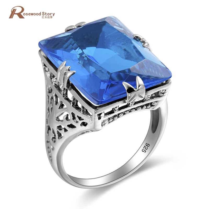 Cheap Charms Handmade Moonlight Blue Stones Carving Gem Stone Ring Engagement Crystal 925 Sterling Silver Women Vintage Rings