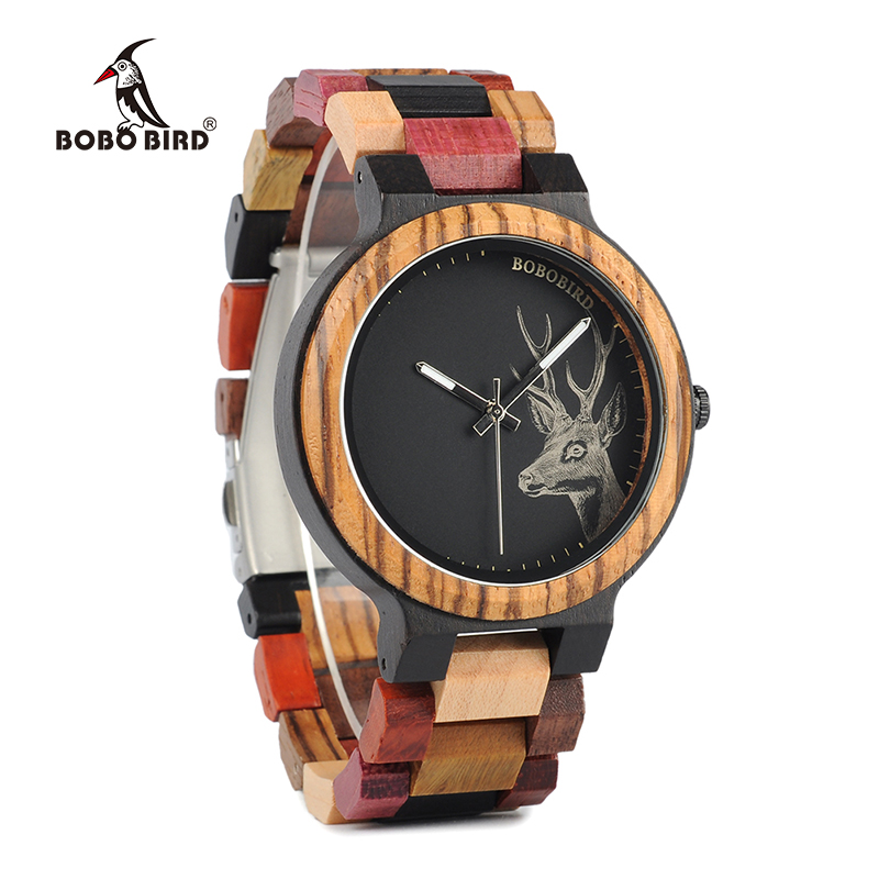 BOBO BIRD New Arrivals Bamboo Wooden Watches Men Elk Wrist Watch Deer Quartz Clock male Gift in Wood Box bobo bird men watches women wooden bamboo watch ladies quartz lover s clock with leather strap as gift in wood box custom