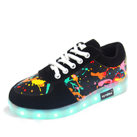 YPYUNA USB Illuminated Krasovki Luminous Sneakers Glowing Kids Shoes Children With Led Light Up Sneakers For