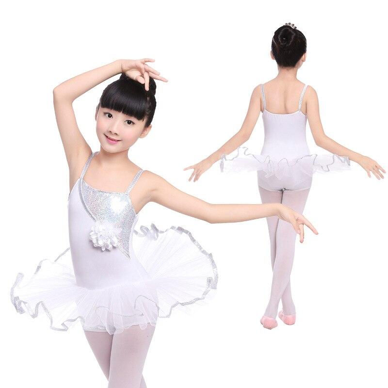 White Sling Ballet Dress For Girls Children Sequins Ballet Dance Clothes Ballerina Dress Kids Sean Lake Ballet Costume For Girls