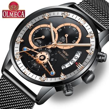 OLMECA Men's Watches Luxury Top Brand Business Military Casual Wrist Watch Waterproof Calendar Relogio Masculino Chronograph