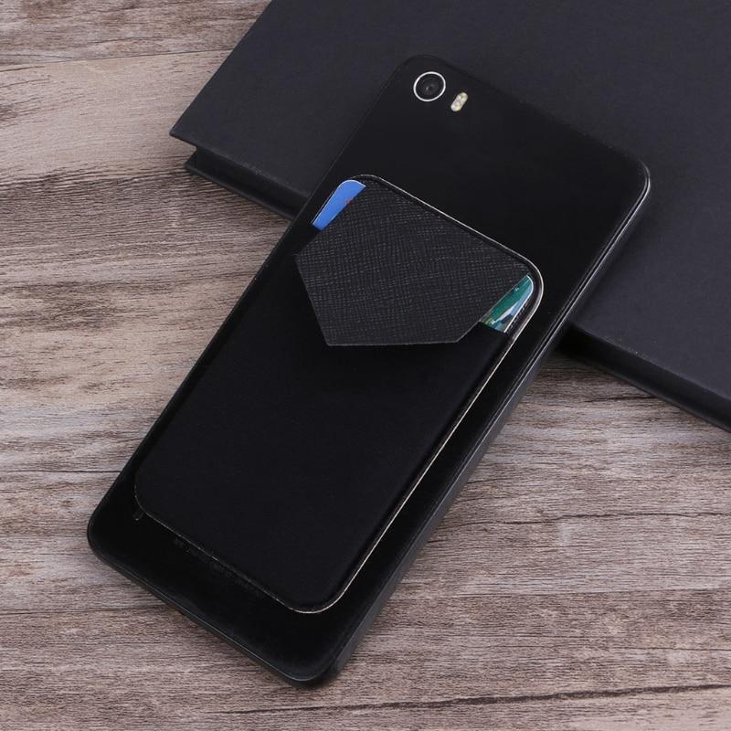 THINKTHENDO Fashion Unisex Mini Elastic Mobile Phone Wallet Credit ID Card Holder Adhesive Pocket Sticker Case for Men Women mobile phone