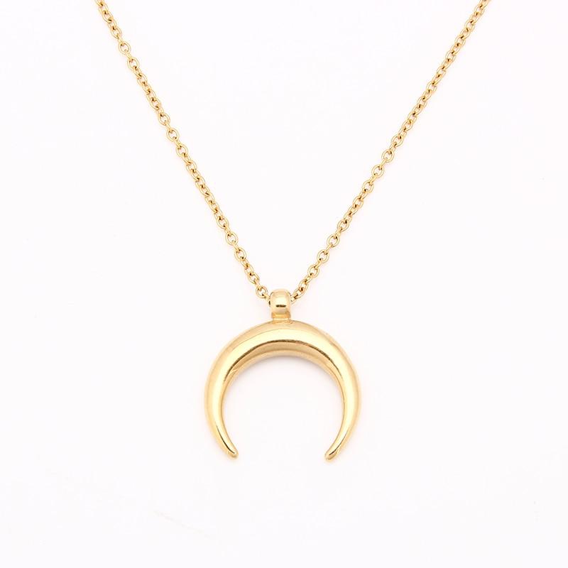 Edelstahl Halb Mond Halskette OX Horn Silber/Gold Crescent Halsreif Collier Lune Corne Demi Lune Halskette Anhänger Für frauen