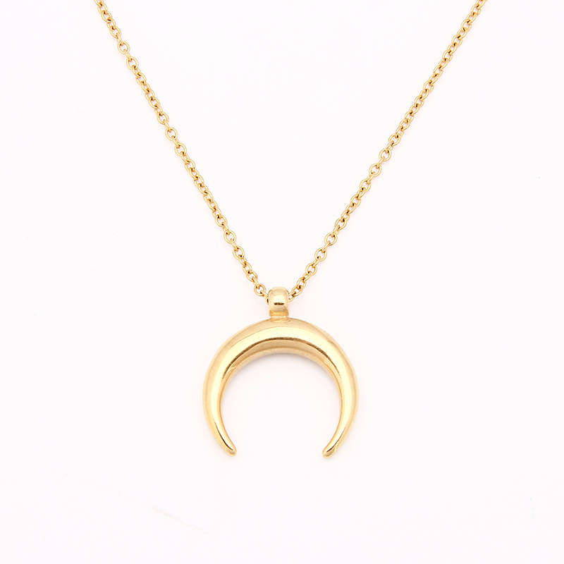 Stainless Steel Half Moon Necklace OX Horn Silver/Gold Crescent Choker Collier Lune Corne Demi Lune Necklace Pendant For Women chic style rhinestone crescent decorated cuboid shape pendant necklace for men