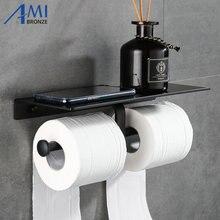 Черная краска двойной бумажный держатель настенные аксессуары для ванной комнаты Телефон Полка для туалета алюминиевый материал