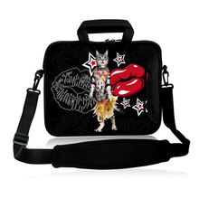 "Neoprene Laptop Shoulder  Handle Bag Carring Cover Case10""13""14""15""17"" Dancing Cat And Lips Type Netbook Sling Pouch For Lenovo"