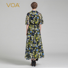 VOA 2017 Summer Silk Print Maxi Dress Fashion Sexy V-neck Flare Sleeve Loose Plus Size Lace-up Women Floral Dress ALA00201