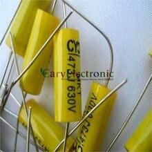 Condensadores de película de poliéster Axial amarillo, cables largos, electrónica, 0.047uF, 630V fr, amplificador de tubo de audio, 50 Uds., venta al por mayor, envío gratis
