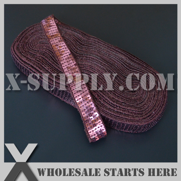(15yards/lot) 5 Rows Sequin Ribbon Lace Trim Tape For Headwear,#337 Maroon Color,for Headwear,Baby Decorations