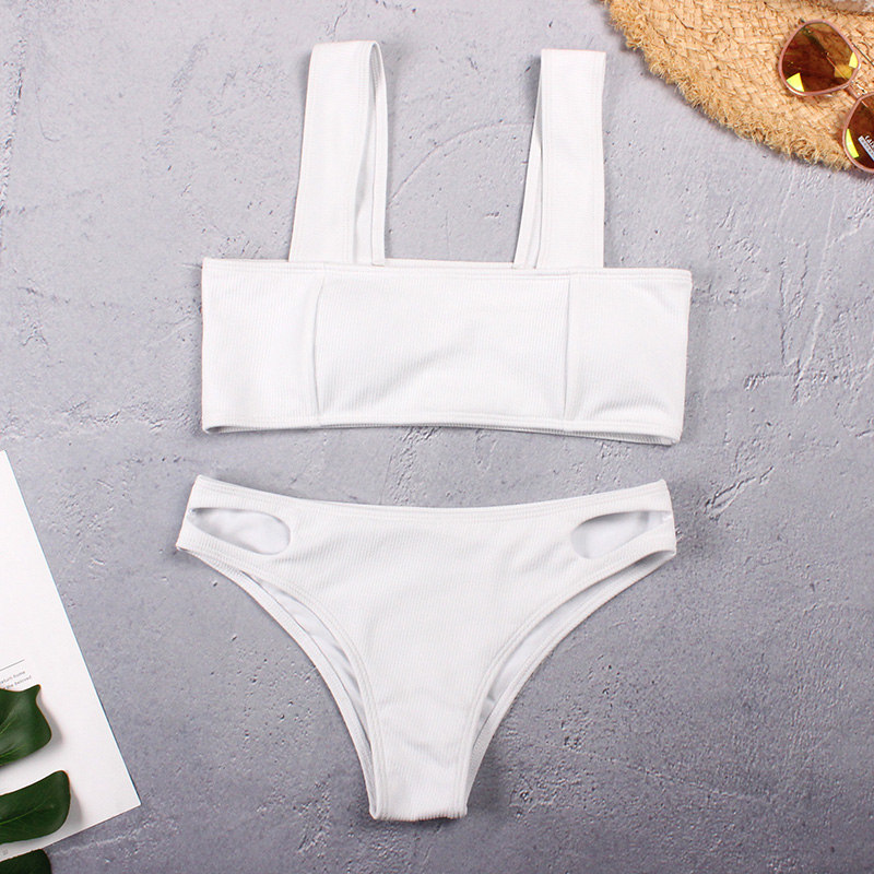 Sexy Bikini 2019 Swimsuit Textured Swimwear Women Push Up Bikini Set Ladies Cut Bottom Swimming Bathing Suit Wide Band Biquini 3