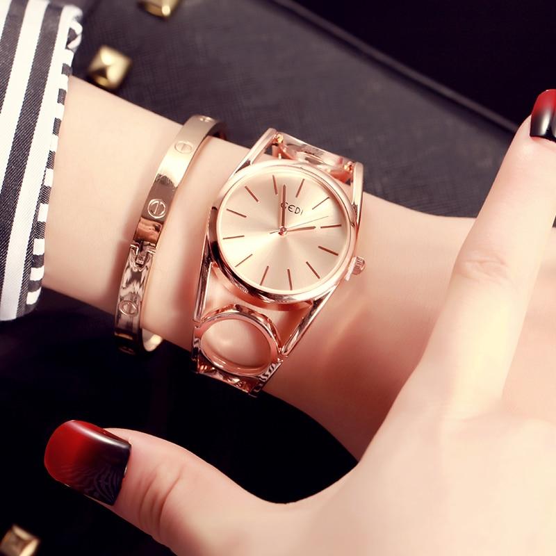 d953d9898cf Top de Luxo Gedi Moda Ouro Rosa Pulseira Relógios Mulheres da Marca  Senhoras Relógio de Quartzo Famoso Pulso Feminino Hodinky