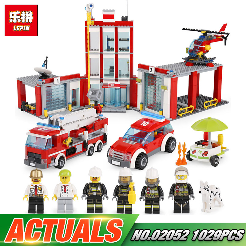 Lepin 02052 City Series The Fire Station Set 1029Pcs Genuine LegoINGly Set 60110 Building Blocks Bricks ActionToys Gift lepin 02052 genuine 1029pcs city series the fire station set 60110 building blocks bricks educational toys christmas gift model