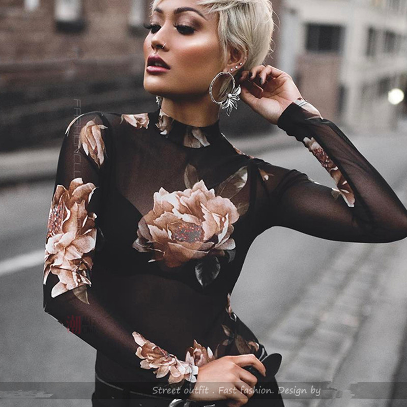 2018 spring Women Long-sleeve 3D Flower Sweet mesh Blouses net Perspective Ladies Sexy F ...