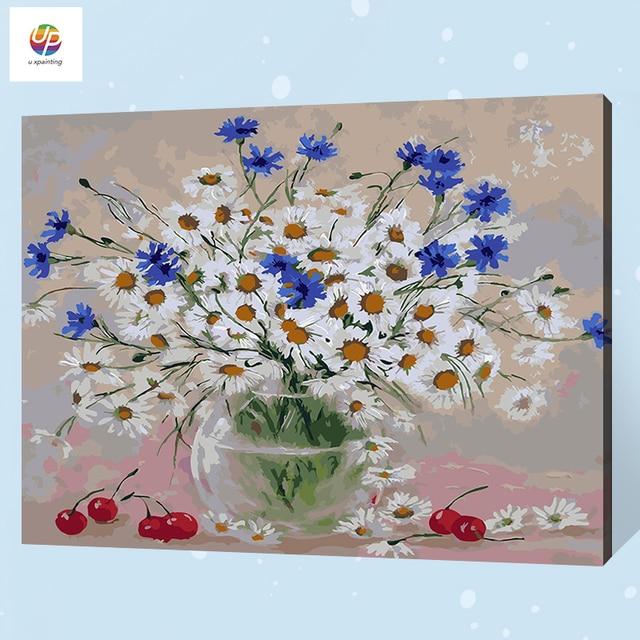 daisy floral fleur sans cadre num rique peinture par num ro peinture acrylique abstraite moderne. Black Bedroom Furniture Sets. Home Design Ideas