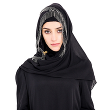 Babalet Womens' Modest Muslim Long Hijab Scarf Solid Sheer Chiffon Islamic Long Wrap Caps Shawl Arab Long Headscarf with Tassels