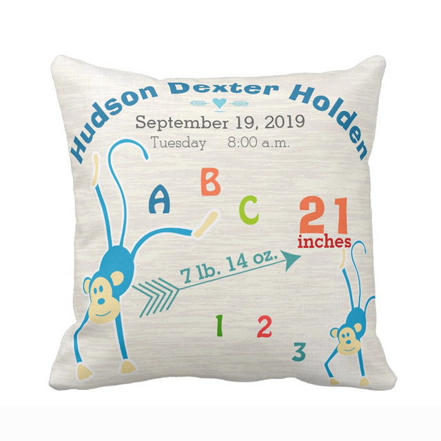 Us 6 46 22 Off Personalized Boy Nursery Baby Birth Stat Monkey Arrow Throw Pillow Cover Decorative Case Sofa Seat Car Soft Pillowcase In