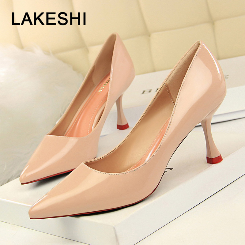 Bigtree Shoes 2019 New Women Pumps Spring High Heels Patent Leather Middle Heels Women Shoes Fashion Kitten Heels Bridal Shoes