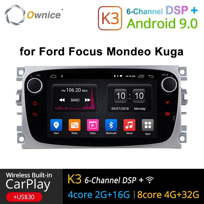 Ownice K1 K2 K3 2 rádio Din Android DVD Player Do Carro GPS Navi para Ford Focus Mondeo Kuga C-MAX S-MAX unidade de Cabeça Estéreo De Áudio galáxia