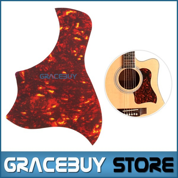 40 41 42 Acoustic Guitar Pickguard Pick Guard Sticker R64mm Plastic Material Red Flame Color - A025F