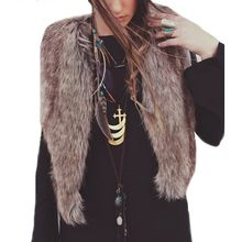 2018 Winter Women Vest Faux fur Sleeveless Short Coat Vests Long Hair Female Jacket Waistcoat Outerwear Zipper Casual Jacket(China)
