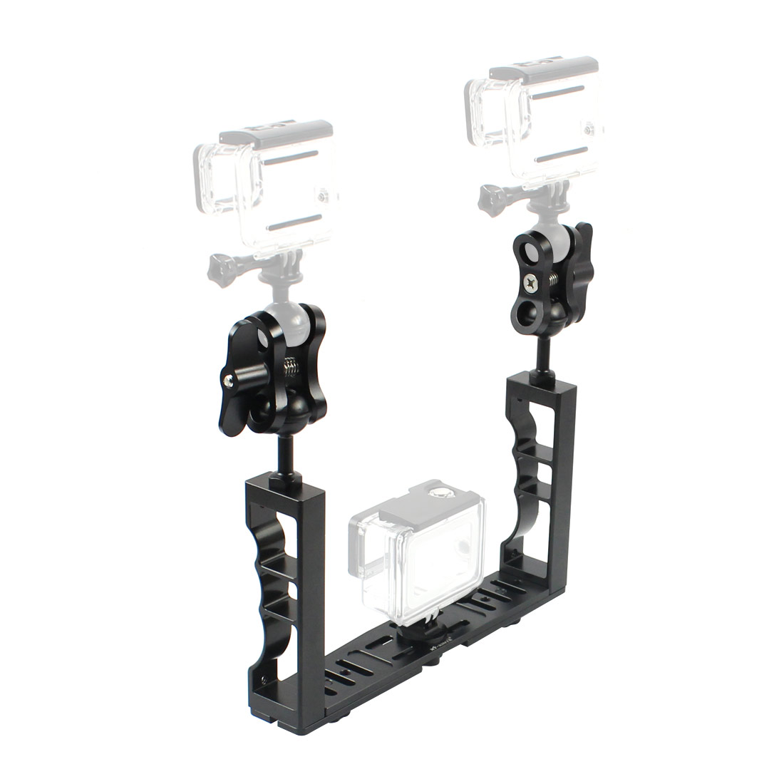 Aluminum Alloy Underwater Waterproof Shell Tray Housings Arm  Holder Double Grip Dive  for Gopro Action Camera AccessoryAluminum Alloy Underwater Waterproof Shell Tray Housings Arm  Holder Double Grip Dive  for Gopro Action Camera Accessory