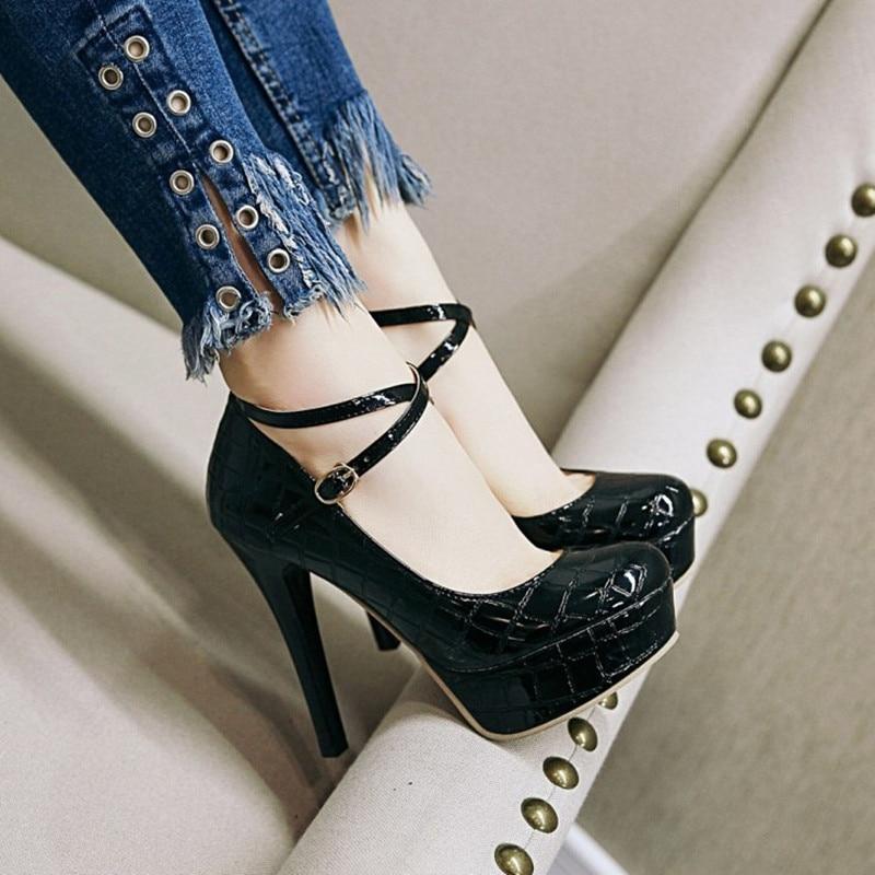Schuhe red Party Strap Heels black High Stiletto Pumps Ankle Hochzeit Apricot Frauen Rot Sexy Ferse Neue Plattform Für wWqTIxSfEC