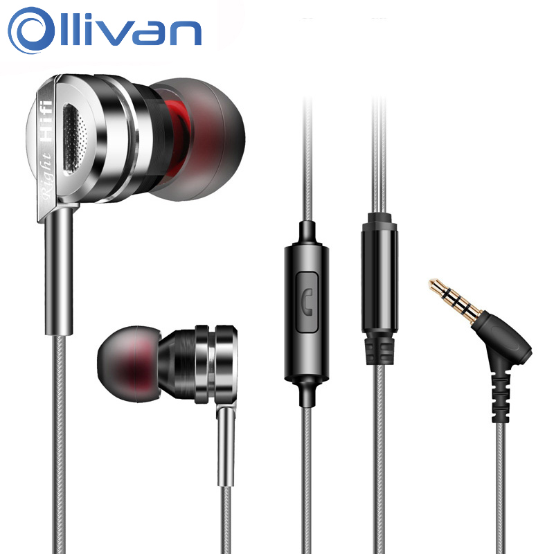 Ollivan Metal Earphone 3.5mm Wired Earphones Universal In-ear Earbuds With Mic Sports Stereo Auriculares For MP3 Laptop Phones hot high quality sports stereo earphones with mic 3 5mm universal use for mobile phones mp3 mp4 gg11101