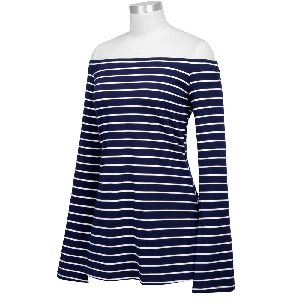 c560cf32987b6 Kate Kasin Casual Striped Flare Long Sleeve Off Shoulder Women T-Shirt 2017  Autumn Female Girls Daily Comfortable Cotton Tops