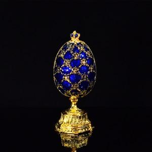 Image 3 - QIFU 러시아 빨간색 파란색 녹색 Faberge 계란과 미니어처 성 홈 장식 선물에 대 한 공예에