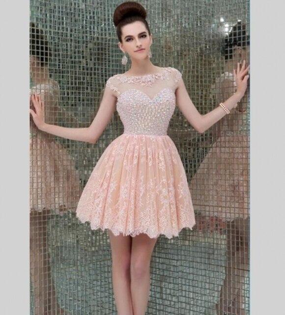 Encantadora Rosa de Encaje Cortos Brillantes Vestidos de Fiesta 2016 ...