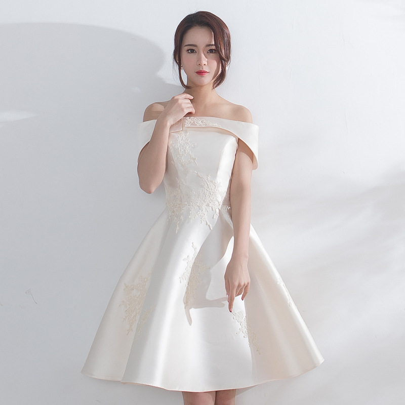 Mingli Tengda Champagne Lace Elegant   Bridesmaid     Dresses   Boat Neck Off the Shoulder   Bridesmaid     Dress   robe demoiselle d'honneur
