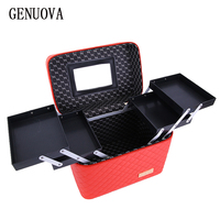 Fashion Women Professional Cosmetic Box Designer High Quality Portable PU Cosmetic Bag Large Capacity Makeup Suitcases
