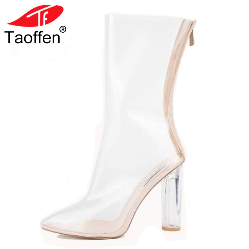 TAOFFEN Women High Heels Shoes Real Leather Mid Calf Length Summer Boots Clear Heel Shoes Women Zipper Daily Footwear Size 33-43 taoffen women high heels sandals real leather peep toe shoes women buckle clear thick heel sandals daily footwear size 34 39