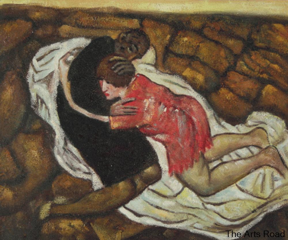 La mort et la jeune fille par egon schiele peinture l for La maison de la peinture