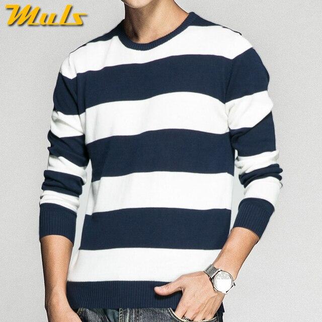 2018 Nouveaux Hommes Chandail Pulls Coton Chandail tricoté Pulls Printemps  Automne Hiver Rayé Tricots Hommes Chandail ff4f5b162d76