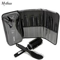 Pro Mythus Hairdressing Hair Cut Comb And Boar Bristle Ceramic Hair Brush Set 8 Pc Carbon Comb 1 Pcs Ceramic Round Comb Kits Set