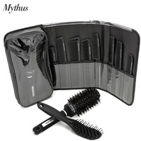 Pro Mythus Hairdressing Hair Cut Comb And Boar Bristle Ceramic Hair Brush Set 8 Pc Carbon