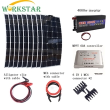9*100W Flexible Solar Panel Charger+Peak 4000W Pure Sine Wave Inverter+MPPT 60 Controller with Cables Houseuse 900W Solar System