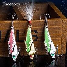 Facecozy металлическая блесна, приманка для рыбалки, 45 мм 7,3/9,3 г, морской окунь, 1 шт., искусственная приманка, погружающаяся, рыболовная приманка, вибрация, 8 # Hook 3D Eyes
