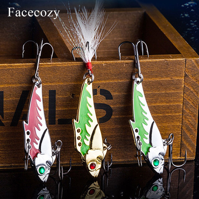 Facecozy Metal Vib balıkçılık Lures yem 45mm 7.3/9.3g levrek 1 adet yapay yem batan balıkçılık cazibesi titreşim 8 # kanca 3D gözler