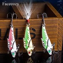 Facecozy โลหะ VIB เหยื่อตกปลาเหยื่อ 45 มม.7.3/9.3g Sea BASS 1Pcs เหยื่อ Sinking ตกปลา lure การสั่นสะเทือน 8 # Hook 3D ตา