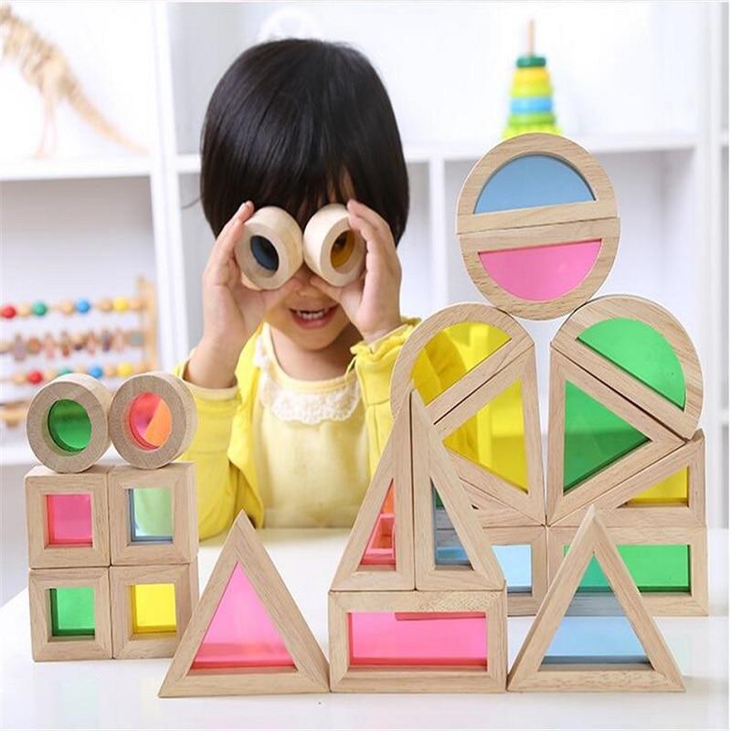 Montessori drveni duge građevni blokovi 24pcs igračke za djecu 6 - Izgradnja igračke - Foto 2