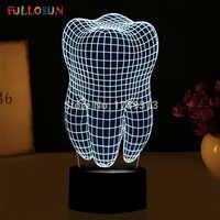 Бесплатная доставка форма зуба 3D иллюзия светодиодный настольный светильник ночник светильник FS-2874