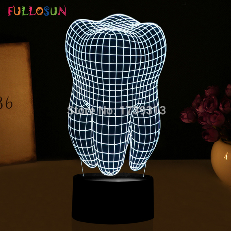 Free Shipping Tooth Shape 3D Illusion LED Table Lamp Night Light FS-2874