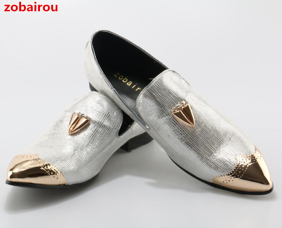 Zobairou 2018 New Metal Pointed Toe Flats Men Shoes Bright Silver Leather Runway Shoes Evening Party Wedding Men Loafers Size 12 women ladies flats vintage pu leather loafers pointed toe silver metal design