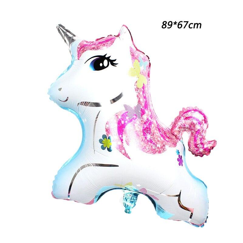 50pcs lot 89 67cm Happy Birthday Party Decoration Little Horse Foil Unicorn Pony Balloons Wedding Halloween