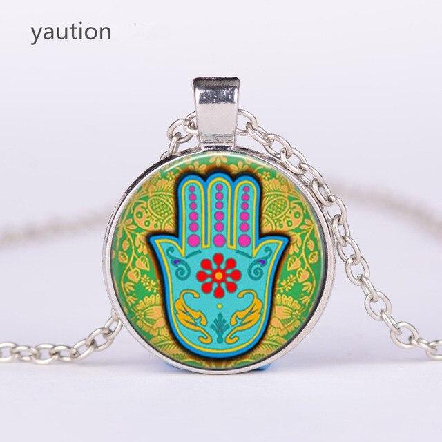 2d3120a768ef 3 color HAMSA mano amuleto afortunado collar joyería Fatima mano judaica  Kabbalah encanto Miriam mano